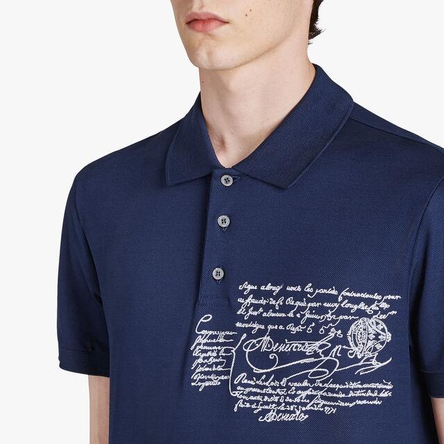 Regular-Fit Scritto Cotton Piqué Polo, MAZARINE BLUE, hi-res