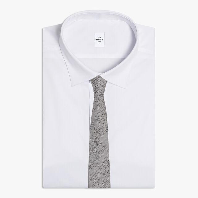 Cravate En Jacquard Scritto Rayé, FOSSIL GREY, hi-res