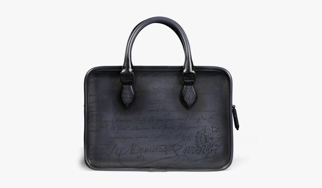 Un Jour Gulliver Scritto Leather Clutch, TOBACCO BIS, hi-res