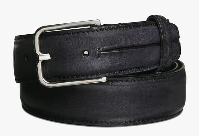 Essence Gaspard Leather Belt - 32 mm, DEEP BLACK, hi-res