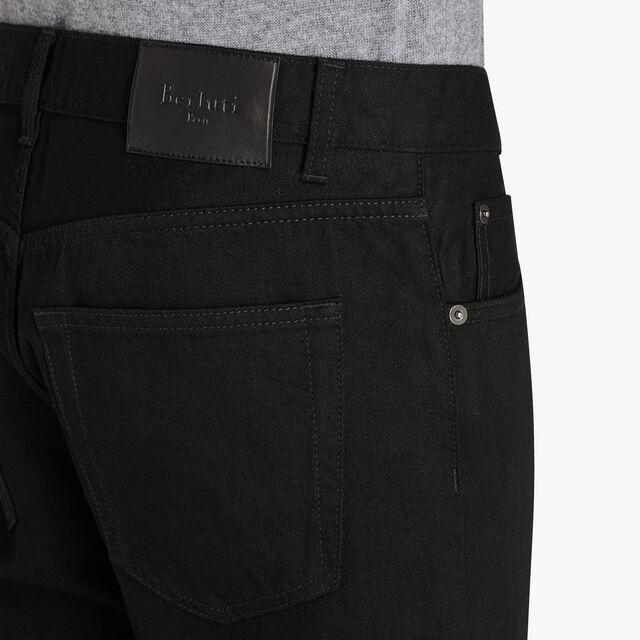 Slim-Fit Cotton Denim Pants With Leather Details, NOIR, hi-res