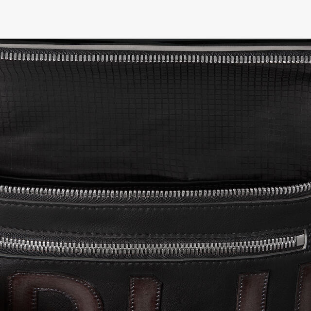 ラージサイズのCompliceレザーメッセンジャーバッグ, NERO, hi-res