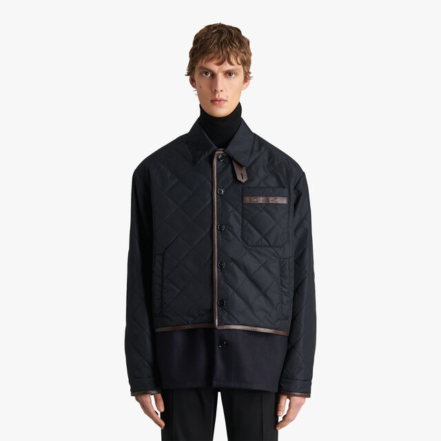 Nylon And Wool Quilted Overshirt, NOIR, hi-res