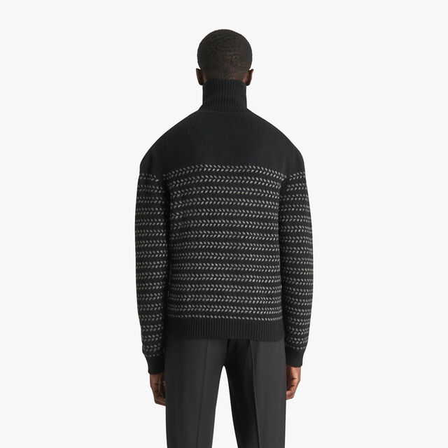 Cashmere Cross Stitch Turtleneck Sweater, NOIR, hi-res