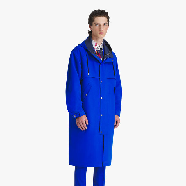 Unlined Light Virgin Wool Parka, ROYAL BLUE/MIDNIGHT BLUE, hi-res