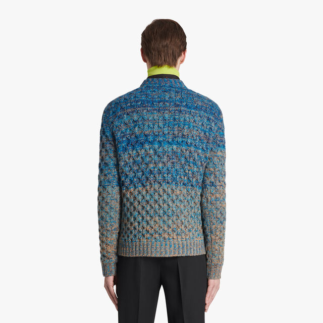 Cable Stitch Sweater With Shading Effect, CERULEAN BLUE, hi-res