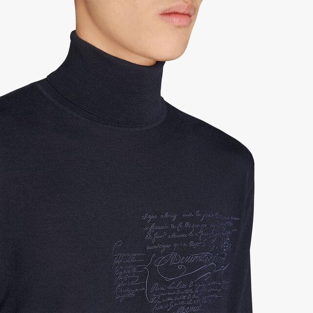 常规剪裁的Scritto 绣花圆翻领羊毛衫, ULTRAMARINE, hi-res
