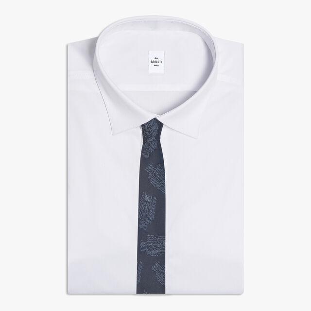 Cravate Scritto Imprimé All-Over, SPACE BLUE, hi-res