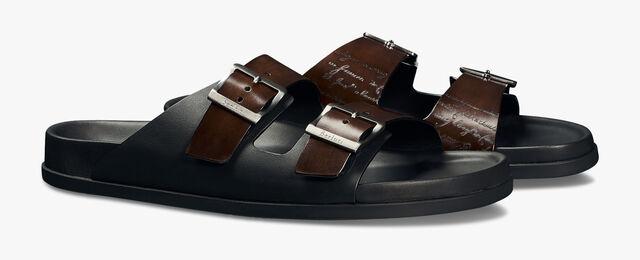 Egio Scritto Calf Leather Sandal, BRUN, hi-res