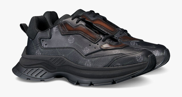 Gravity Canvas and Leather Low-Cut Sneaker, BLACK + TDM INTENSO, hi-res