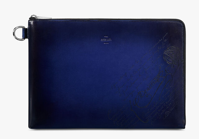 Nino GM Scritto Leather Clutch, UTOPIA BLUE, hi-res