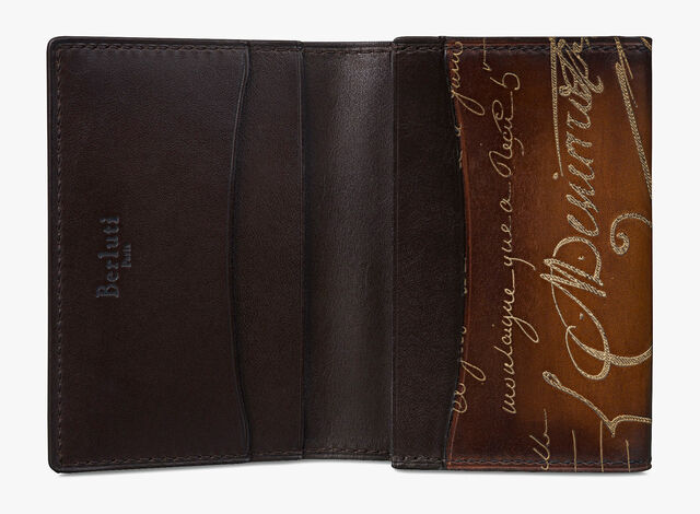 Imbuia Scritto Leather Card Holder, TOBACCO BIS + GOLDEN, hi-res
