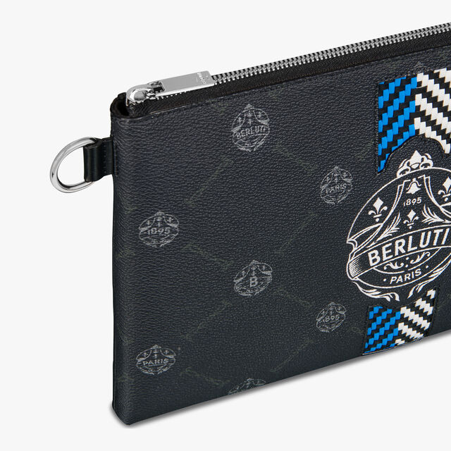 Nino GM Canvas and Leather Clutch, BLACK + BLUE, hi-res