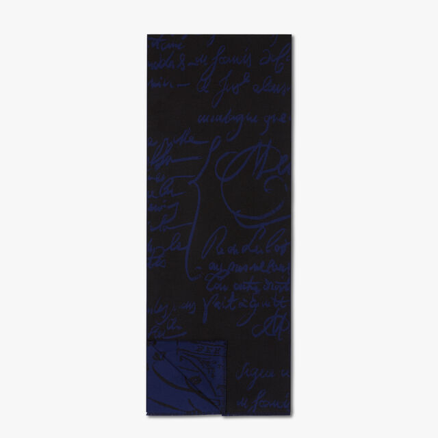 Wool Jacquard Scritto Scarf, MEDITERRANEAN BLUE, hi-res