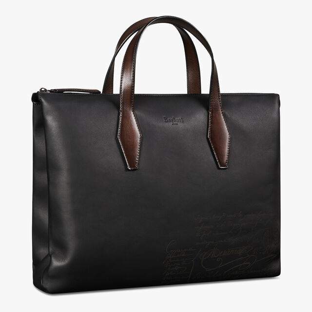 Pespective Scritto Leather Briefcase, NERO, hi-res