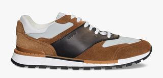 Sneaker Run Track Torino En Cuir De Veau Velours, TAUPE, hi-res