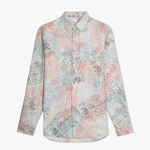 오버사이즈 실크 프린트 셔츠, SCRITTO ICE GREY, hi-res