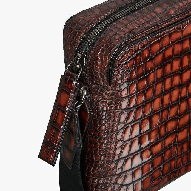 Monolithe Small Alligator Leather Messenger Bag, MOGANO, hi-res