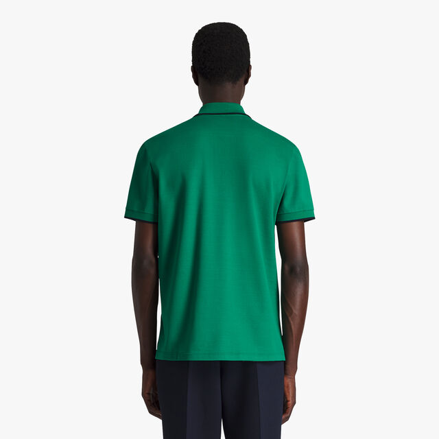 Regular Fit Cotton Polo Shirt With Embroidered Logo, CLOVER GREEN, hi-res