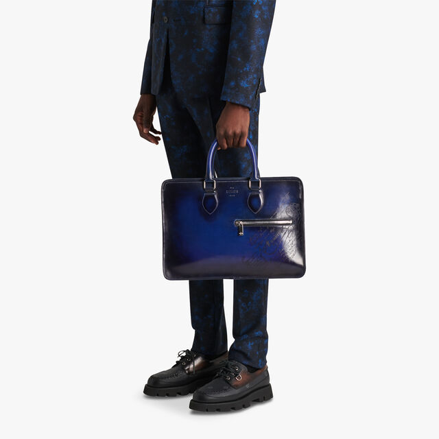 Un Jour Leather Scritto Swipe Briefcase, UTOPIA BLUE, hi-res