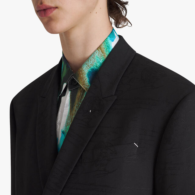 Jacquard Scritto Double Breasted Virgin Wool Jacket, NOIR, hi-res