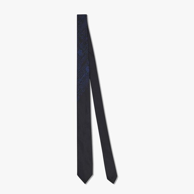 Cravate Scritto En Jacquard De Soie, NOIR/INFINITY BLUE, hi-res