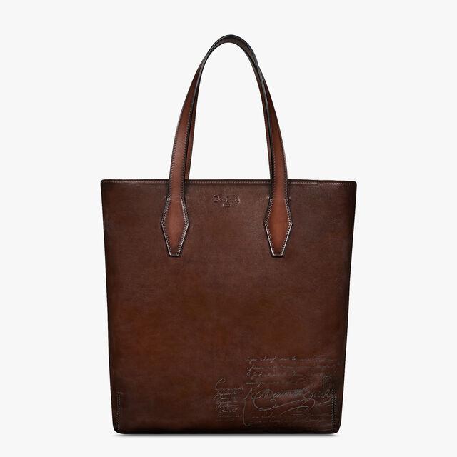 Vertical Venezia Calf Leather Tote Bag, BRUN, hi-res