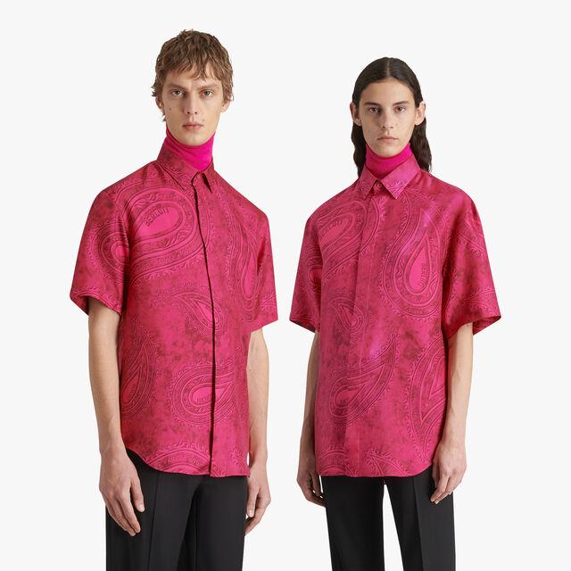 Short Sleeve Printed Silk Shirt, FUCSIA PAISLEY, hi-res