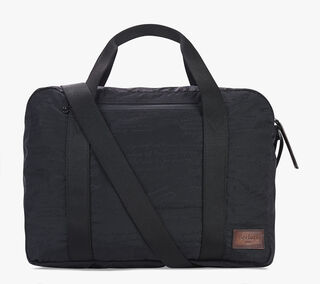 Sac De Voyage Out En Nylon & Cuir, NERO, hi-res