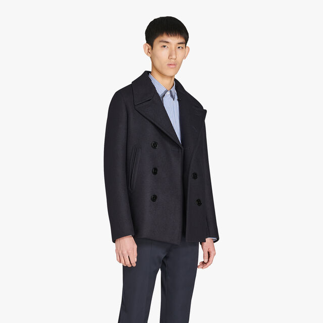 Wool Peacoat With Leather Details, CAOS NIGHT, hi-res