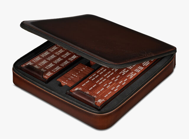 Venezia Calf Leather Mahjong, BRUN, hi-res