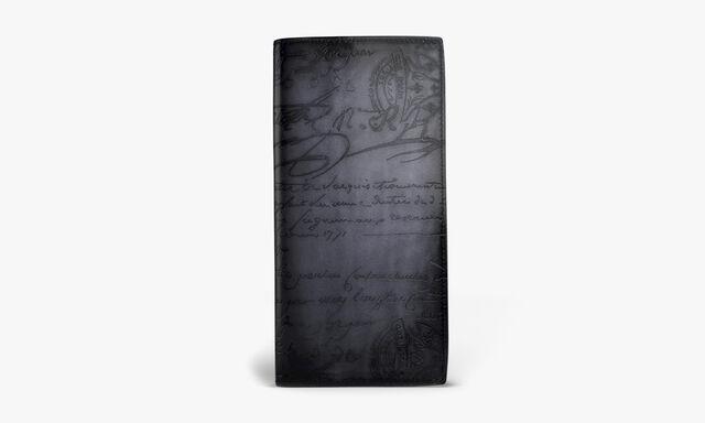 Santal Scritto Leather Yen Wallet, NERO, hi-res