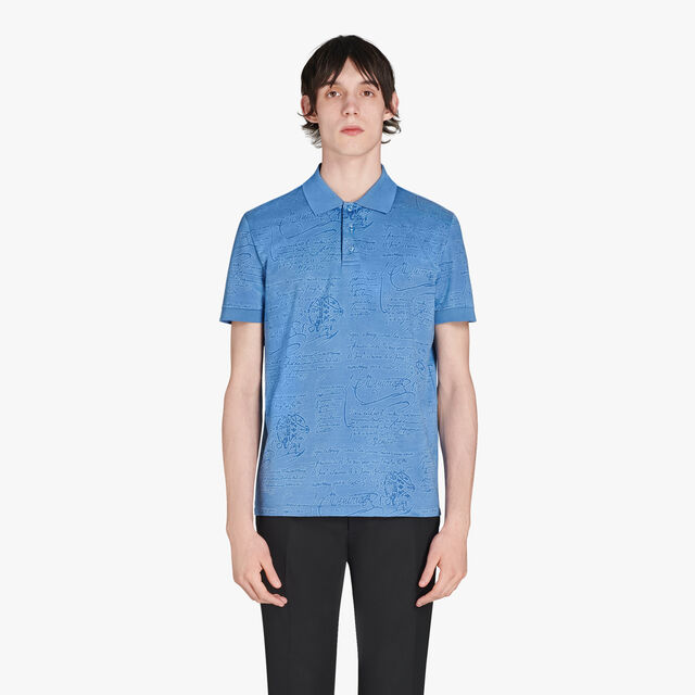 Regular Fit Short Sleeves Jacquard Scritto Polo Shirt, LIGHT INFINITY BLUE, hi-res