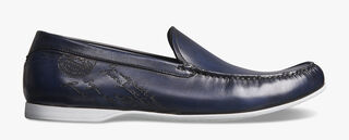 Leandro Bari Leather Loafer, BLU PROFONDO, hi-res