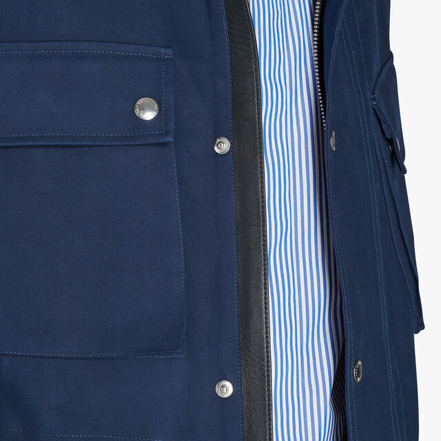Cotton Field Jacket With Leather Details, PLEIADES, hi-res