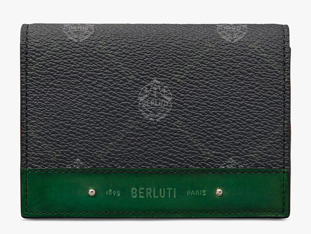 Imbuia Canvas And Leather Card Holder, BLACK+GRASS GREEN, hi-res