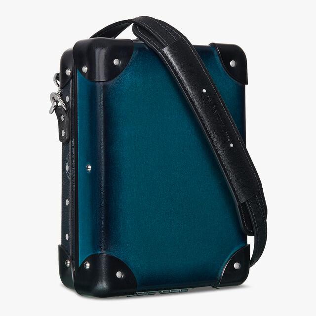 Globe-Trotter Mini Canvas And Leather Messenger Bag , BLACK + ALPINE GREEN, hi-res
