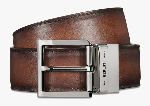 Signature Canvas and Venezia Leather 35 mm Belt , BLACK+TDM INTENSO, hi-res