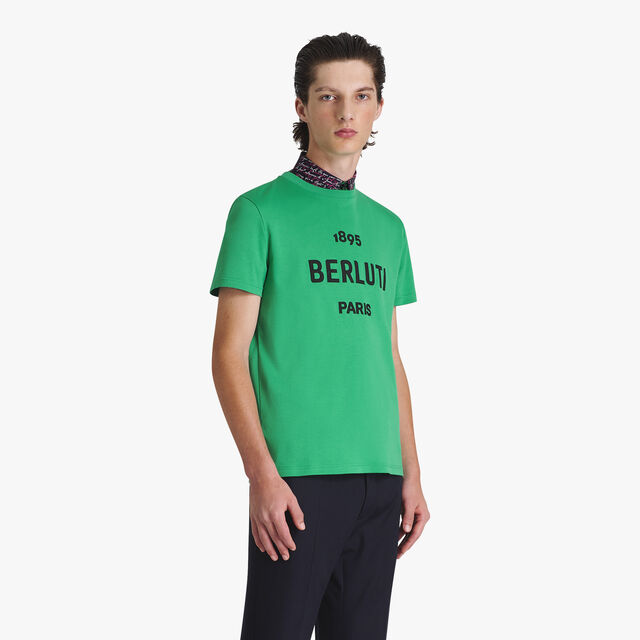 Cotton Short-Sleeve T-Shirt With Embroidered Logo, CLOVER GREEN, hi-res