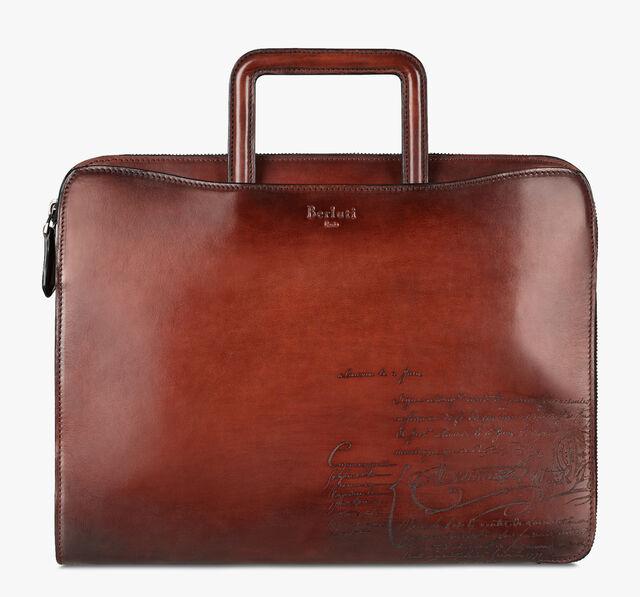 Lift Small Scritto Calf Leather Briefcase, MOGANO, hi-res