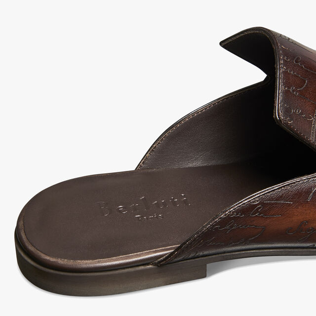 Cyrus Scritto Leather Slipper, TABACCO, hi-res
