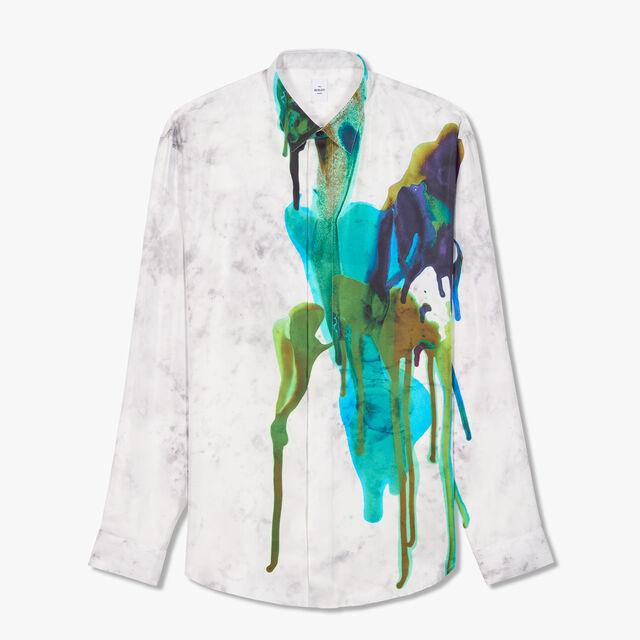 Graphic Printed Silk Shirt, INK ROYAL BLUE, hi-res