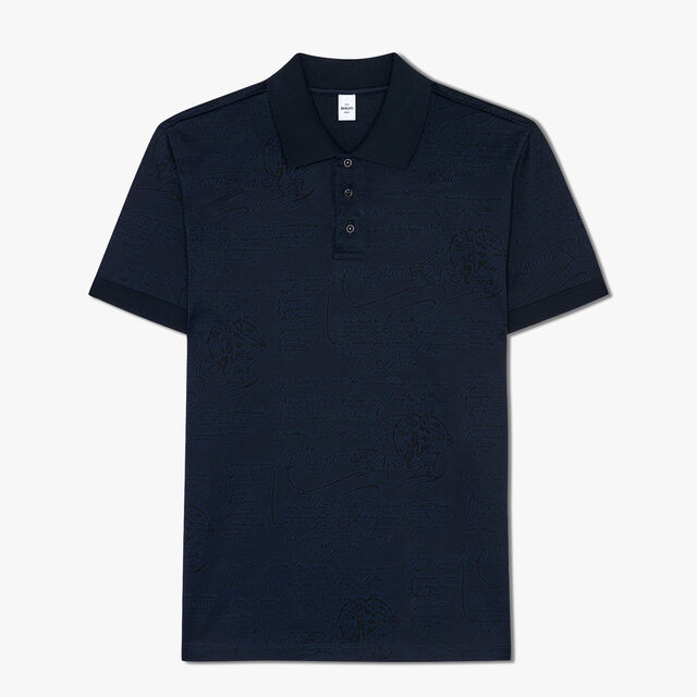 Regular Fit Short Sleeves Jacquard Scritto Polo Shirt, CAOS NIGHT, hi-res