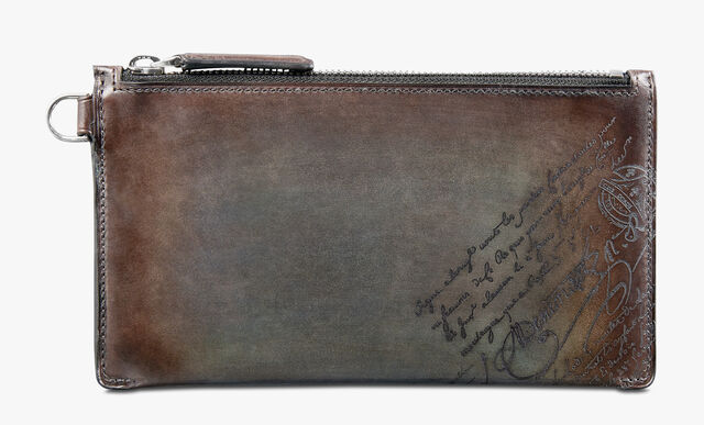 Facade Epure Large Scritto Leather Zipped Card Holder, ICE BROWN, hi-res