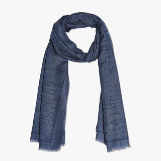羊绒混纺Scritto围巾, BLUE MARINE, hi-res