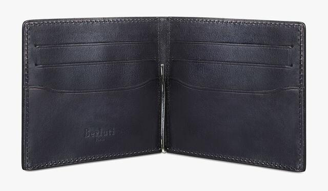 Assao Scritto Leather Bills Holder, NERO, hi-res