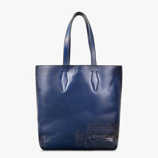 Esquisse Engraved Calf Leather Tote Bag, BLU NOTTE, hi-res