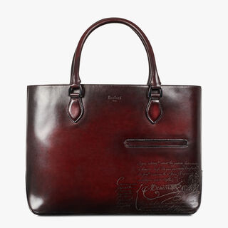 Toujours Engraved Calf Leather Tote Bag, BLOOD SCURO, hi-res