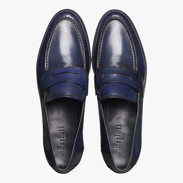 Gianni Sapienza Calf Leather Loafer, BLU PROFONDO, hi-res