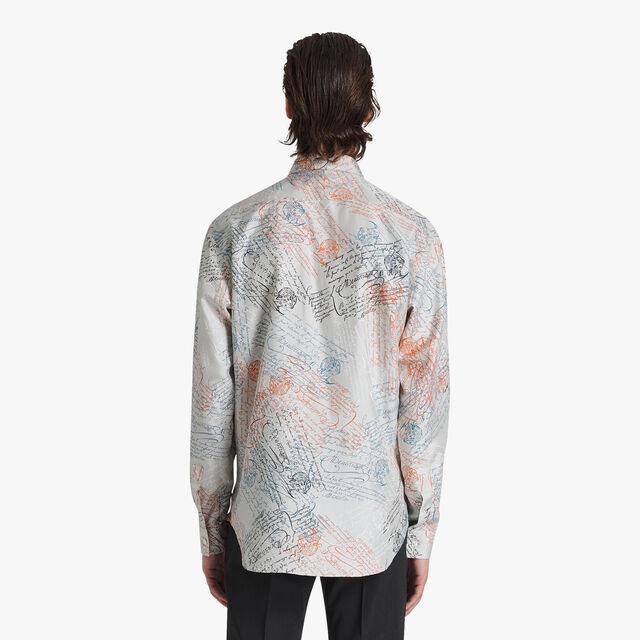 Oversize Silk Printed Shirt, SCRITTO ICE GREY, hi-res